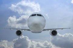 Passenger jet inflight. Inflight air to air shot of a passenger jet royalty free stock images