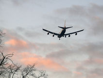 Passenger jet landing at sunset Stock Photo