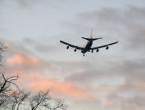 Passenger jet landing at sunset Stock Photo