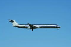 Passenger jet plane landing Stock Photography