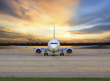 Passenger jet plane parking on airport runways use for business stock photo