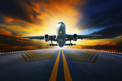 Passenger jet plane preparing to take off from airport runways w stock photos