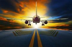 Passenger jet plane preparing to take off from airport runways w Stock Image