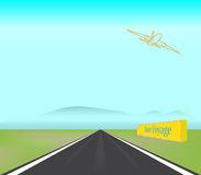 Passenger Jet Plane Takes Off Runway Illustration. A jet airliner takes off from a runway royalty free illustration