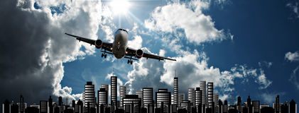 Passenger jet set against cityscape illustration Stock Images