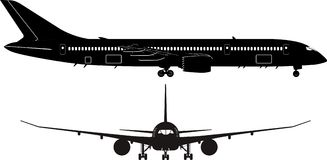Passenger jet silhouette Royalty Free Stock Photo