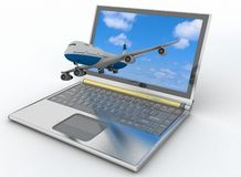 Passenger jet takes off from laptop Royalty Free Stock Photo