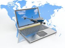 Passenger jet takes off from the laptop monitor Royalty Free Stock Photos
