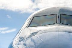 Passenger jet windshield Royalty Free Stock Photo