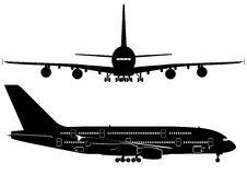 Passenger Jetliner. Detailed vector silhouette with windows and cockpit of passenger jet. Isolated with clipping path. Avalable EPS-8 Stock Photos