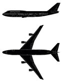 PASSENGER JETLINER. Detailed vector silhouette with windows and cockpit of passenger jet.Side and top view.Vector illustration Royalty Free Stock Photo