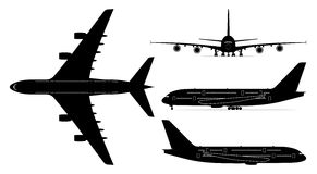 Passenger jetliner vector. Vector set of four passenger jetliner illustrations (Airbus A380) isolated on white background. Editable EPS file available Royalty Free Stock Photo