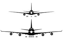 PASSENGER JETLINERS  front view Royalty Free Stock Photo