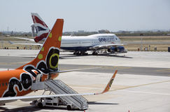 Passenger jets at Cape Town airport Stock Images