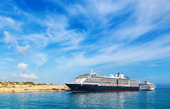 Passenger large cruise ship in port expects passengers in. Passenger large cruise ship in the port expects passengers in port royalty free stock image