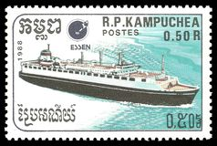 Passenger Liner. Cambodia - stamp 1988: Color edition on Ships, shows Passenger Liner stock image