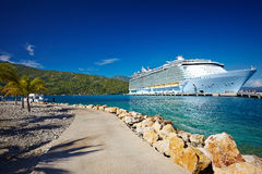 Passenger liner in tropical sea against blue sky,Haiti Stock Image