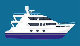 Passenger liner in white color isolated on blue background Royalty Free Stock Image