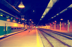 Passenger local train stands by the platform. Royalty Free Stock Photo