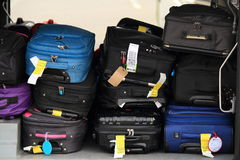 Passenger luggage in airplane Royalty Free Stock Image