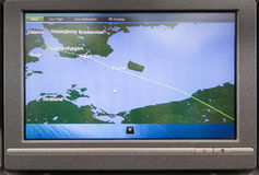 The passenger monitor of Boeing 787-8 shows the flight-location. The passenger monitor of Boeing 787-8 Dreamliner on a flight from Doha to Copenhagen, May 11 Stock Photography