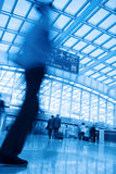 Passenger motion blur in airport Stock Photo