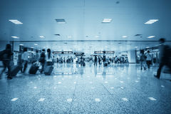 Passenger motion blur in a transport hub Royalty Free Stock Images