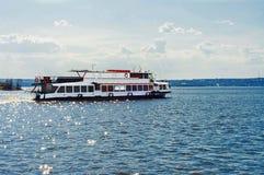 Passenger motor ship. Passenger two-decked motor ship on water royalty free stock photo