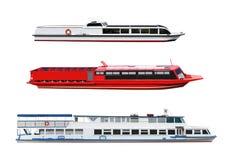 Passenger motor ships. Set of passenger motor ships and boats isolated on white backround Royalty Free Stock Images