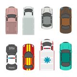 Passenger and municipal service transport vehicles vector flat icons top view. Passenger and municipal service transport vehicles roof or top view. Vector flat Royalty Free Stock Image