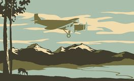 Passenger Plane. Vintage looking illustration of an airliner flying over the mountains Stock Image