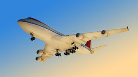 The passenger plane. (3d rendering Royalty Free Stock Image