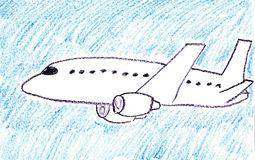 Passenger plane. Child drawing of passenger jet aircraft made with wax crayons Royalty Free Stock Image