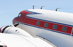 Passenger Plane. Red and white plane royalty free stock image