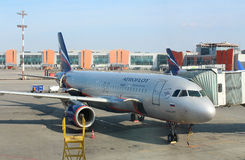 A passenger plane Airbus A320-200 of Aeroflot Russian Airlines in the Sheremetyevo international airport, Moscow Royalty Free Stock Photo