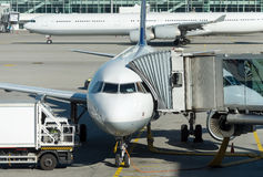 Passenger plane in the airport. Stock Image