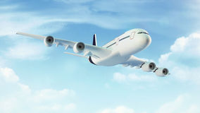 Passenger plane in the blue sky with clouds royalty free stock photo