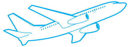 Passenger plane, bottom view. Stock Photo