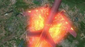 Passenger plane burning fall down stock video