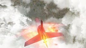 Passenger plane burning falling stock video footage