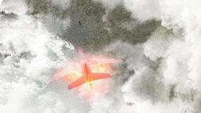 Passenger plane burning penetrates the clouds stock video