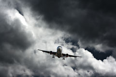 Passenger plane on final approach Stock Photos
