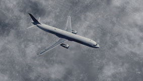 Passenger plane flies above big city. Top view of a passenger plane flies in a cloudy sky above big city at dusk. Black and white 3D illustration was done from Stock Images