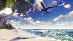 A passenger plane flies over an exotic tropical island in the blue ocean. 3D Rendering. stock illustration
