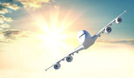 Passenger plane flies to the camera. Against the background of sunrise or sunset. 3d illustration. Beautiful background for air travel advertising Stock Photo