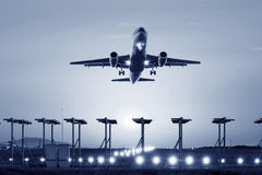Passenger plane fly up Royalty Free Stock Photos