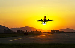 Passenger plane fly up Stock Image
