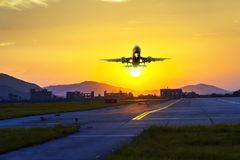 Passenger plane fly up Stock Photos