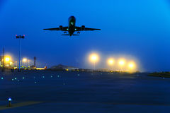 Free Passenger Plane Fly Up Over Take-off Runway From Airport Stock Photo - 89435890
