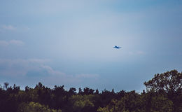 Passenger plane fly up take-off Royalty Free Stock Photos